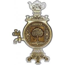 Магнит из бересты Липецк Герб круг Самовар серебро