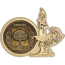 Магнит из бересты Липецк Герб круг Свечка дерево