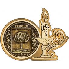 Магнит из бересты Липецк Герб круг Свечка золото
