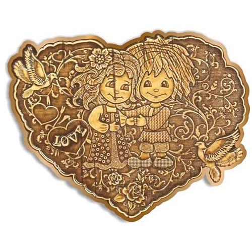 """Магнит вырезной оберег """"Сердце-LOVE"""" золото"""