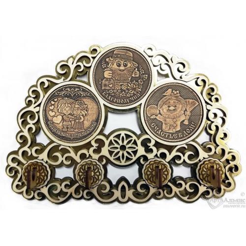 Ключница с тремя накладками из бересты Домовые КЛ-27430
