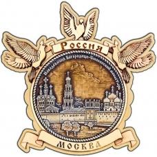 Магнит из бересты Москва Новодевичий монастырь круг Голуби дерево