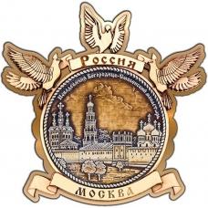 Магнит из бересты Москва Новодевичий монастырь круг Голуби золото
