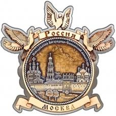 Магнит из бересты Москва Новодевичий монастырь круг Голуби серебро