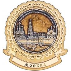 Магнит из бересты Москва Новодевичий монастырь круг Лента дерево