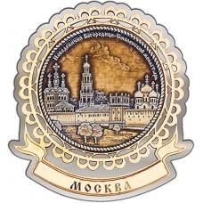 Магнит из бересты Москва Новодевичий монастырь круг Лента серебро