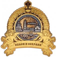 Магнит из бересты Москва Новодевичий монастырь круг Ангелы золото