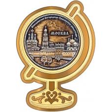 Магнит из бересты Москва Новодевичий монастырь круг Глобус золото