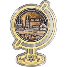 Магнит из бересты Москва Новодевичий монастырь круг Глобус серебро