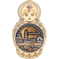 Магнит из бересты Москва Новодевичий монастырь круг Матрешка дерево