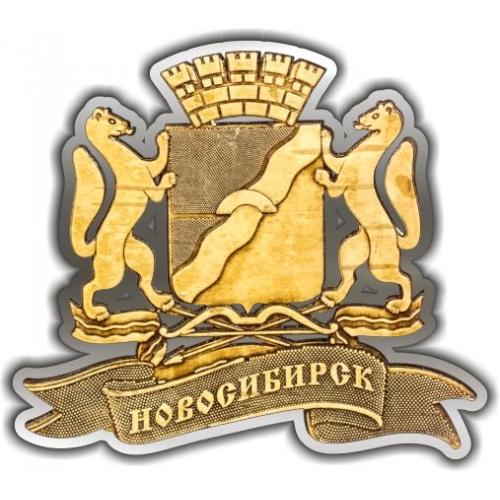 Магнит из бересты вырезной Новосибирск Герб серебро