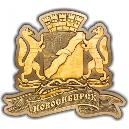 Магнит из бересты вырезной Новосибирск Герб золото