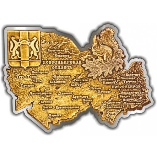 Магнит из бересты вырезной Новосибирская область серебро