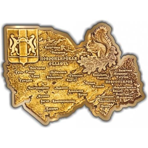 Магнит из бересты вырезной Новосибирская область золото
