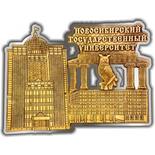 Магнит из бересты вырезной Новосибирский Государственный университет (сова) серебро