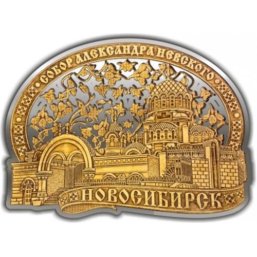 Магнит из бересты вырезной Новосибирск Собор Александра Невского ОБЛАКО серебро