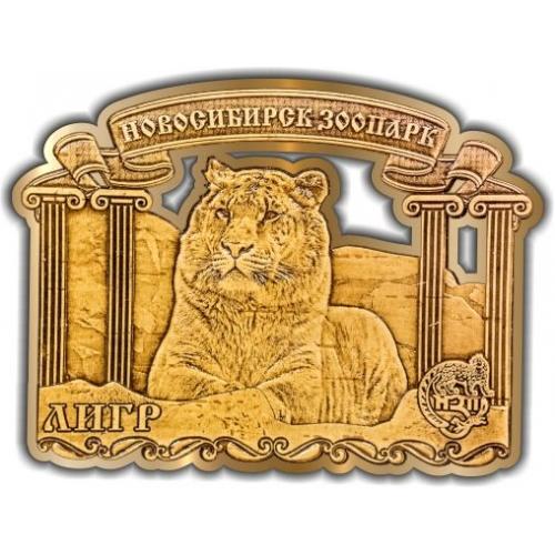 Магнит из бересты вырезной Новосибирский зоопарк Лигр золото