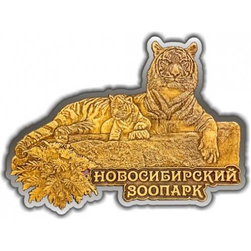 Магнит из бересты вырезной Новосибирский зоопарк Тигр с тигренком серебро