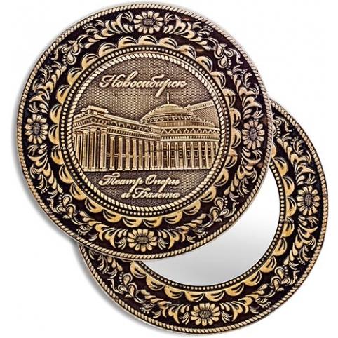Зеркало круглое Новосибирск Оперный театр (береста, тиснение, дерево)