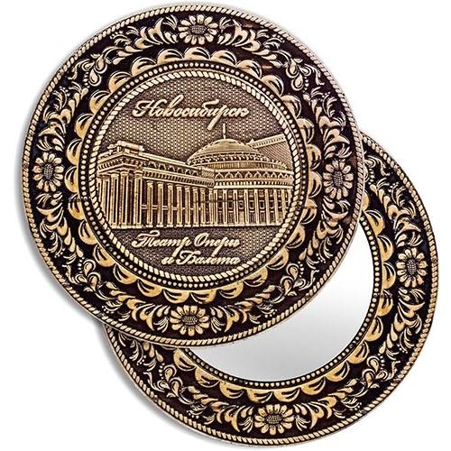Зеркало круглое без ручки Новосибирск Оперный театр (береста, тиснение, дерево)