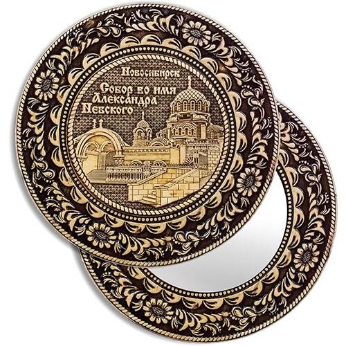 Зеркало круглое без ручки Новосибирск Собор Александра Невского (береста, тиснение, дерево)