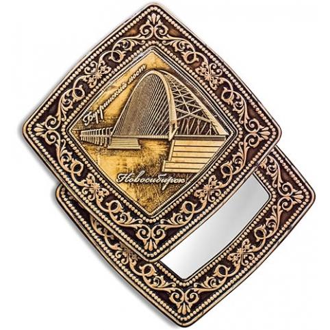 Зеркало квадратное Новосибирск Бугринский мост (береста, тиснение, дерево)