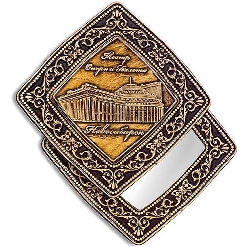 Зеркало квадратное Новосибирск Оперный театр (береста, тиснение, дерево)