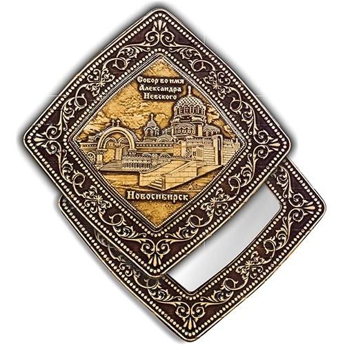 Зеркало квадратное Новосибирск Собор Александра Невского (береста, тиснение, дерево)