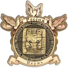 Магнит из бересты Пермский звериный стиль круг Голуби золото