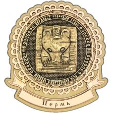 Магнит из бересты Пермский звериный стиль круг Лента дерево