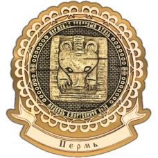 Магнит из бересты Пермский звериный стиль круг Лента золото