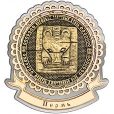 Магнит из бересты Пермский звериный стиль круг Лента серебро