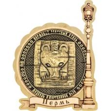 Магнит из бересты Пермский звериный стиль круг Фонарь дерево