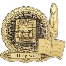 Магнит из бересты Пермский звериный стиль круг Перо дерево