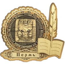 Магнит из бересты Пермский звериный стиль круг Перо золото