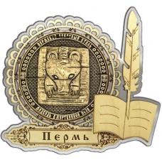 Магнит из бересты Пермский звериный стиль круг Перо серебро