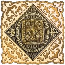 Магнит из бересты Пермский звериный стиль квадрат ажур золото