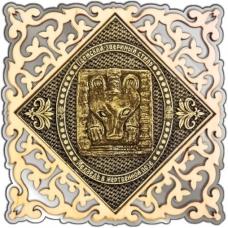 Магнит из бересты Пермский звериный стиль квадрат ажур серебро