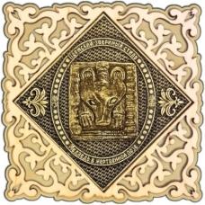 Магнит из бересты Пермский звериный стиль квадрат ажур дерево