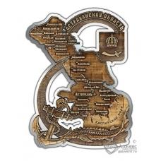 Магнит из бересты вырезной Астрахань-Карта области серебро