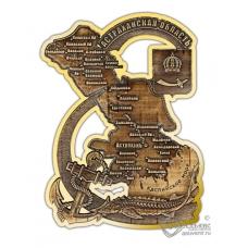 Магнит из бересты вырезной Астрахань-Карта области золото