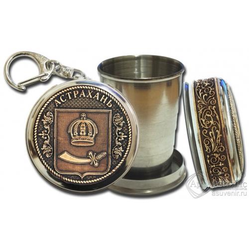 Стопка-брелок Астрахань-Герб с накладкой из бересты