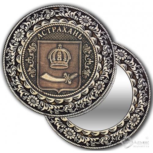 Зеркало круг из бересты с накладкой Астрахань-Герб