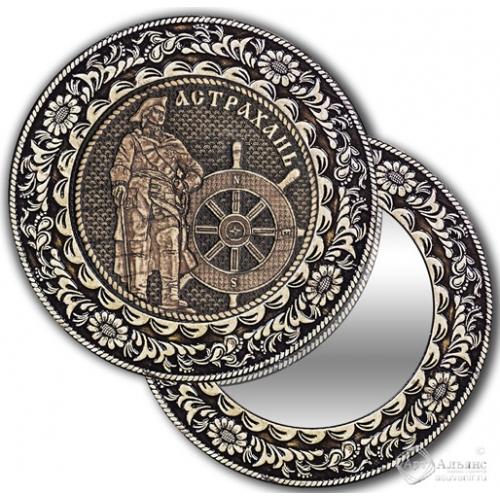 Зеркало круг из бересты с накладкой Астрахань-Петр I