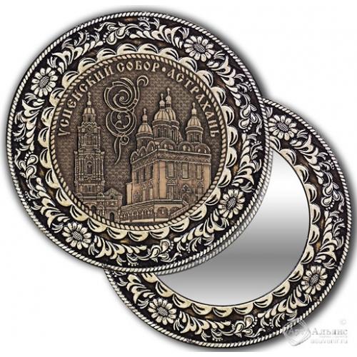 Зеркало круг из бересты с накладкой Астрахань-Успенский собор