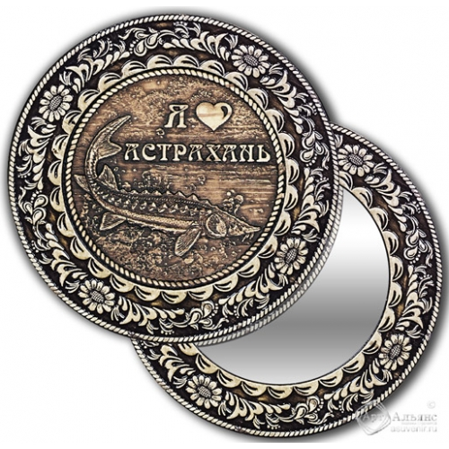 Зеркало круг из бересты с накладкой Астрахань-Осетр