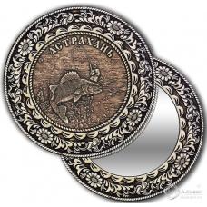 Зеркало круг из бересты с накладкой Астрахань-Рыбак