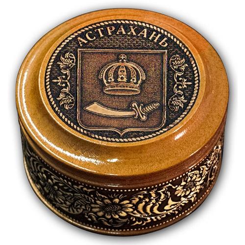 Шкатулка деревянная круглая с накладками из бересты Астрахань-Герб 70х46