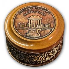 Шкатулка деревянная круглая с накладками из бересты Астрахань-Лебединое Озеро 70х46