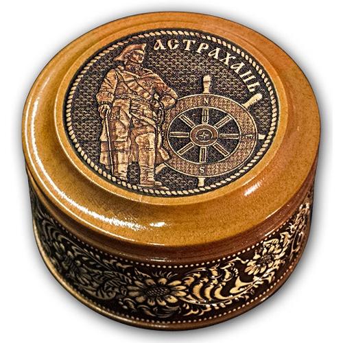 Шкатулка деревянная круглая с накладками из бересты Астрахань-Петр I 70х46